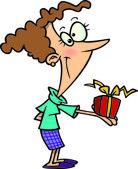 Cartoon-frau ein geschenk geben — Stockvektor