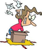 Cartoon Woman Unwrapping Gift Box — Stock Vector