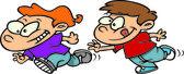 Cartoon Boys Playing Tag — Stock Vector