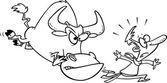 Cartoon Running of the Bulls — Stock Vector