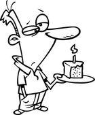 Cartoon Man Birthday Cake — Stock Vector