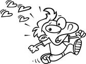 Cartoon Boy Running From Love — Stock Vector