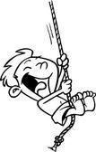 Cartoon Boy on a Rope Swing — Stock Vector