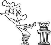 Cartoon Woman Resisting Chocolate Cake — Stock Vector