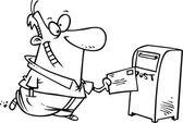 Hombre de dibujos animados envía una carta por correo — Vector de stock