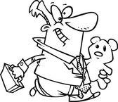 Cartoon Businessman with a Teddy Bear — Stock Vector