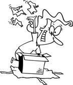 Cartoon vrouw giftdoos uitpakken — Stockvector