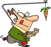 Cartoon Man Chasing a Carrot on a Stick — Stock Vector
