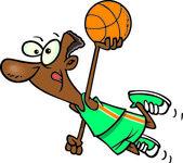 Cartoon Basketball Player Dunk — Stock Vector