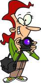 Cartoon Female Photographer — Stock Vector