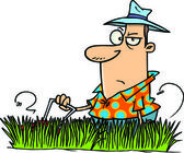 Cartoon Man Mowing Lawn — Stock Vector