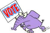 Cartoon Elephant Voter — Stock Vector