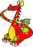 Cartoon Dragon Speak No Evil — Stock Vector