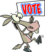 Cartoon Donkey Voter — Stock Vector