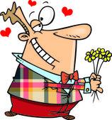 Cartoon Man with Flowers — Stock Vector