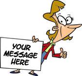 Cartoon Businesswoman Holding a Sign — Stock Vector