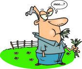 Cartoon Man Put Out to Pasture — Stock Vector