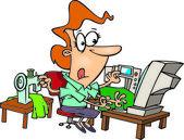 Cartoon Woman Multitasking — Stock Vector