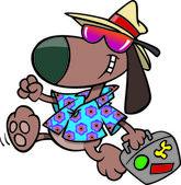 Cartoon Dog Vacation — Stock Vector