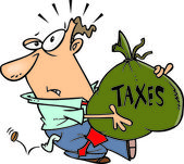 Cartoon Man with Tax Burden — Stock Vector