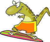 Cartoon Dinosaur Surfer — Stock Vector