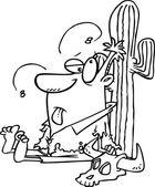Cartoon Man in Desert — Stock Vector