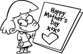 Cartoon Girl with Mother's Day Card — Vector de stock