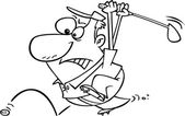 Cartoon Man Chasing Golf Ball — Stock Vector