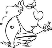 Cartoon Fat Ugly Man — Stock Vector