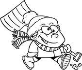 Cartoon Boy with Snow Shovel — Stock Vector
