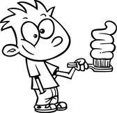 Cartoon Boy Brushing Teeth — Stock Vector