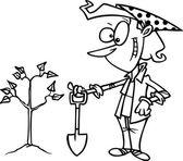 Cartoon kvinna plantera träd — Stockvektor