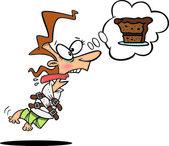 Cartoon Woman Craving Chocolate Cake — Stock Vector