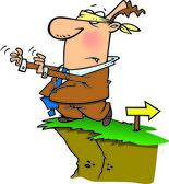 Cartoon Blindfolded Man Walking Off Cliff — Stock Vector