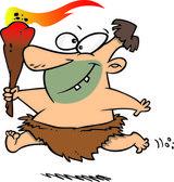 Cartoon Caveman Torch — Stock Vector