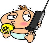 Dibujos animados bebé niño teléfono celular — Vector de stock