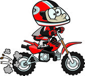 Cartoon Boy Minibike — Stock Vector
