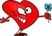 Cartoon Love Heart Flower — Stock Vector