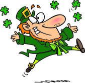 Cartoon Leprechaun Jumping — Stock Vector
