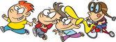 Cartoon Kid Stampede — Stock Vector