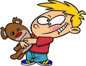 Cartoon Boy Hugging a Teddy Bear — Stock Vector