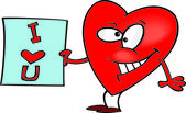 Karikatür kalp kucaklama — Stok Vektör