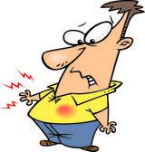 Cartone animato bruciori di stomaco dolore — Vettoriale Stock