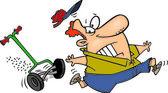 Homem dos desenhos animados, perseguido por um cortador de grama — Vetor de Stock
