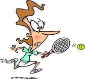 Cartoon Female Tennis Player — Stock Vector