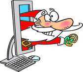 Cartoon Santa Email — Vettoriale Stock