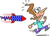 Cartoon Woman Running Away From Rocket — Stock Vector