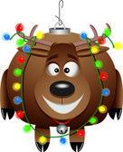 漫画のルドルフ クリスマスの飾り — ストックベクタ