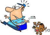 Cartoon Dog Chasing the Postman — Stock Vector