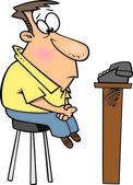 Cartoon Man Watching the Phone — Stock Vector